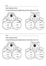 ESL Kids Worksheets Alphabetical Order