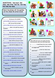 English Worksheets: QUESTIONS � how much, how many, how often, how far, how long how wide,how deep