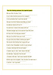 English Worksheet: Reported Speech Commands