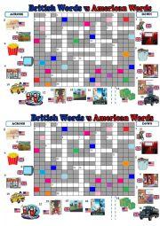English Worksheet: British English vs American English Crossword