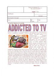 English Worksheet: TV ADDICTIONS