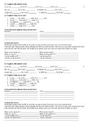 English Worksheet: Test animals can can�t
