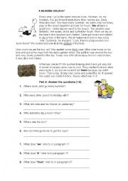 English Worksheet: Reading A Seaside Holiday