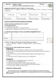 English Worksheet: Lesson 5: Tolerance and Respect for others