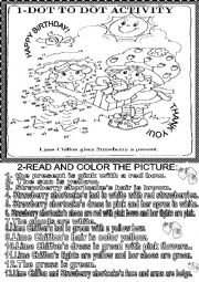 English Worksheet: DOT TO DOT ACTIVITY / READ AND COLOR THE PICTURE