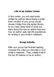 English Worksheets: Author Study Center