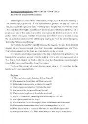 English Worksheet: Coca cola story