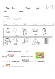 English Worksheet: Final test Happy Street 1
