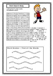 English Worksheets: Our body word search