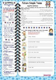 English Worksheet: Future Simple Tense-negative sentences *** with grammar & key