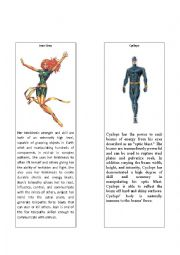English Worksheet: Superheroes 7 ( Cyclops (X--Men) and Jean Grey)