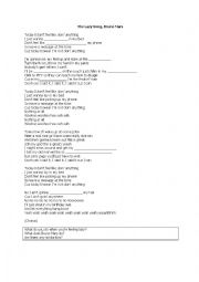 English Worksheets: The Lazy Song by Bruno Mars