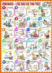 English Worksheet: Pronouns (Greycale + keys) Full editable & Jobs