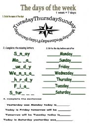 English Exercises: the seven days of the week