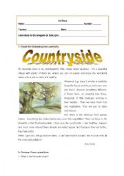 English Worksheet: Countryside