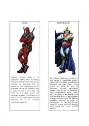 English Worksheet: Superheroes 10 ( Martian Manhunter and Deadpool)
