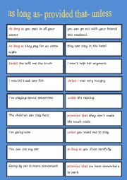 English Worksheet: As long as -Unless Matching Cards