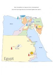English Worksheet: What�s the weather like in Egypt