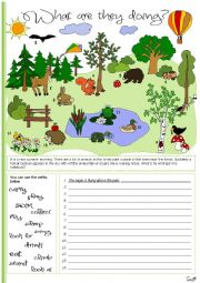 English Worksheet: What are they doing?