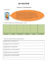 English Worksheets: Routine- reading comprehension