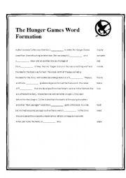 Printables Hunger Games Worksheets english teaching worksheets the hunger games word formation