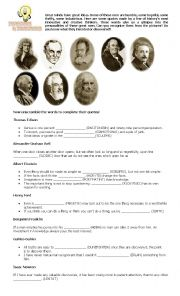 English teaching worksheets: Inventors