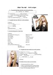 English Worksheets: What the hell by Avril Lavigne