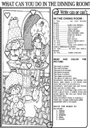 English Worksheet: WHAT CAN YOU DO IN THE DINING ROOM?
