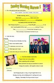 English Worksheets: Sunday Morning- Maroon 5