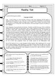 English Worksheet: Reading Quiz - Languages in India
