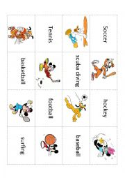 English Worksheets: Disney Sports Memory Game