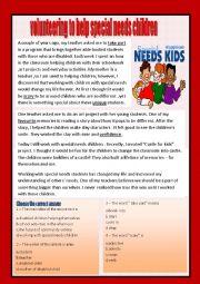 English Worksheets: Reading comprehension (volunteering)