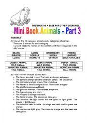 English Worksheet: mini book animals 3a - tall, mountain, desert and wild