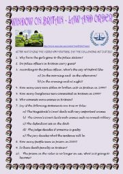 English Worksheets: VIDEOSHEET - LAW AND ORDER (WITH KEY)