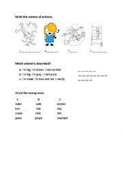 English worksheet: Actions and animals