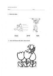 English Worksheets: PE worksheet (run, jump, walk)