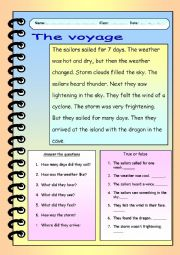 English Worksheets: the voyage