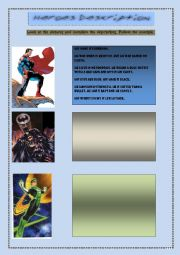 English Worksheet: Heroes description