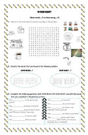 English Worksheets: How much and how many activities