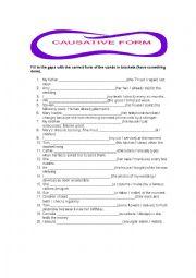 English Worksheet: Causative form