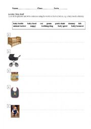 English Worksheets: Baby Stuff