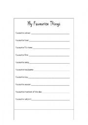 English Worksheets: My Favourite Things
