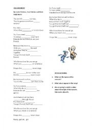 English Worksheet: On a rainbow song