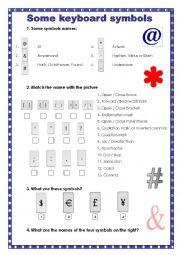 English Worksheets: Some Keyboard Symbols