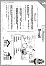 English Worksheet: What�s a maid? - reading comprehension, vocabulary + game [teacher�s handout with keys included] - 4 pages *editable