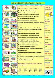 English Worksheets: All around my town: places & places (+ key)