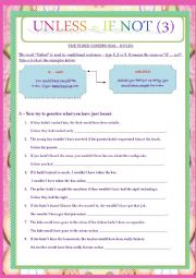 English Worksheet: IF NOT VS UNLESS - CONDITIONALS (TYPE 3)- RULES AND EXERCISES.