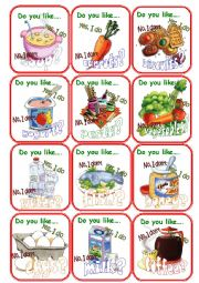 English Worksheet: Go fish cards Food
