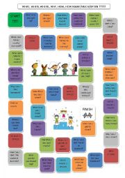 English Worksheet: Object Question Board Game with �What, What time, What type,  When, Where, Why, How many/much/often....???�