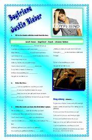 English Worksheets: Boyfriend Justin Bieber
